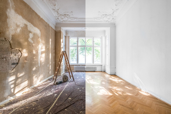 Stylized before and after photo of home renovation