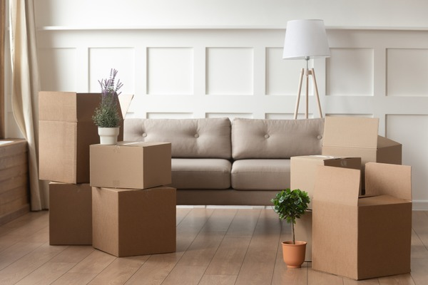 living room with stacked moving boxes